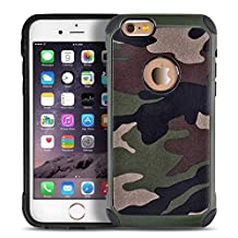 iPhone 6 6s plus case,Liujie [Camo Series] Hybrid High Impact Shock Absorption Dual Layer Army Camouflage Armor Defender Case Cover for iphone 6s plus 5.5inch(green)