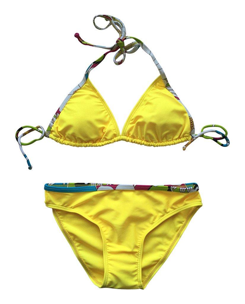 LE BESI Girl's Fashion Three Piece Halter Elegant Swimsuit Swimdress