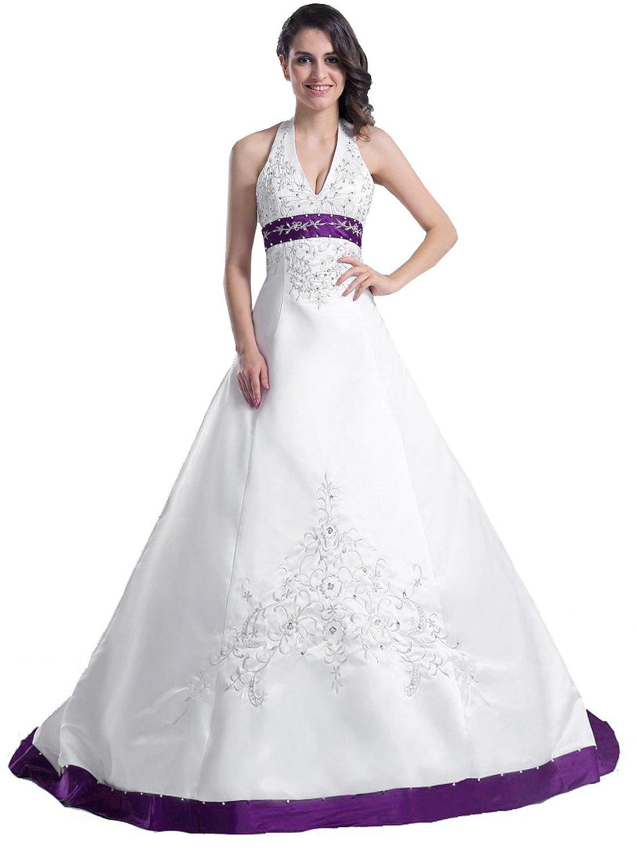 Edaier Frauen Perlen Halfter bestickt Satin Kleid Vintage Braut ...