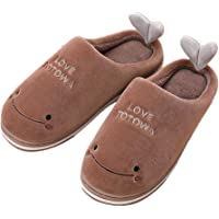 Vikenner Womens Mens Slippers Winter Warmth Comfortable Plush Slippers Indoor Home Non-slip Cuddly Wide Slippers dolphin 43-44 Brown