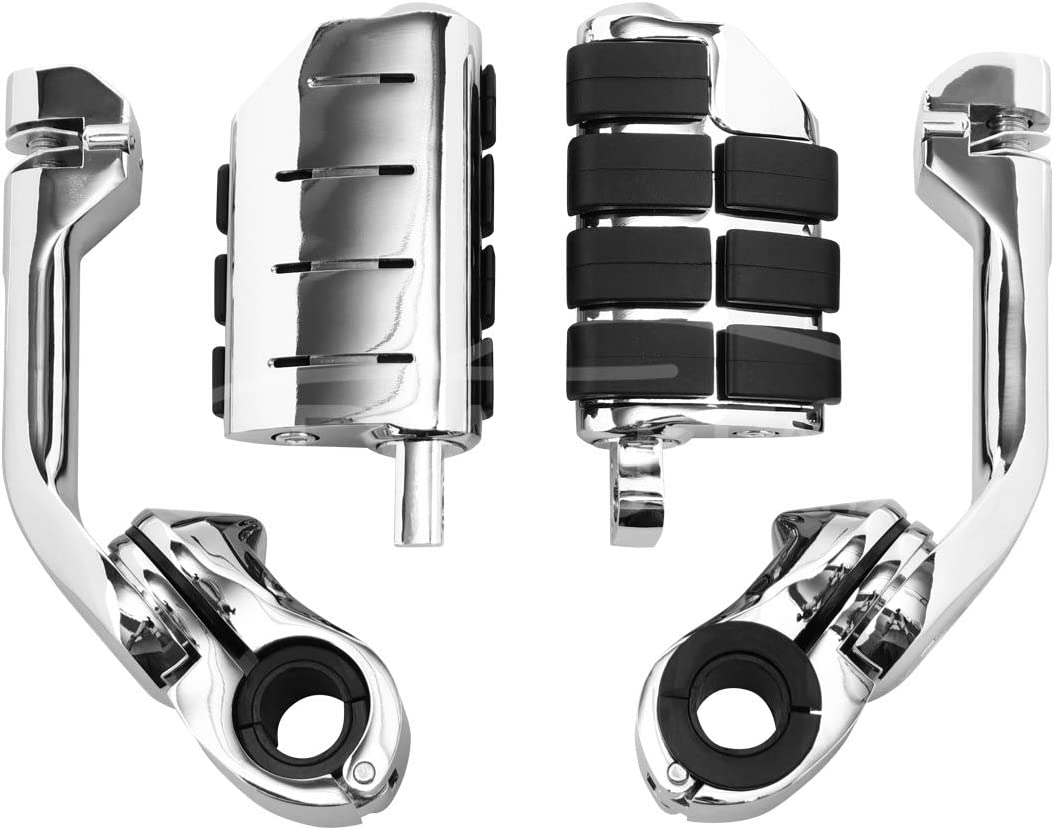 GDAUTO Motorcycle Foot pegs Highway Pegs Motorcycle Footpegs Foot Rest(Chrome) for Harley Honda Yamaha Road King Street Glide Suzuki Engine Guard Kawasaki