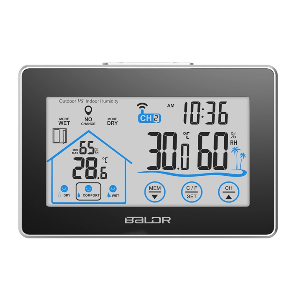 EDAL Temperature & Humidity Monitor Meter Thermometer with LCD Digital Screen Clock Temperature Humidity Sensor Hygrometer for Indoor Or Outdoor EDAL112