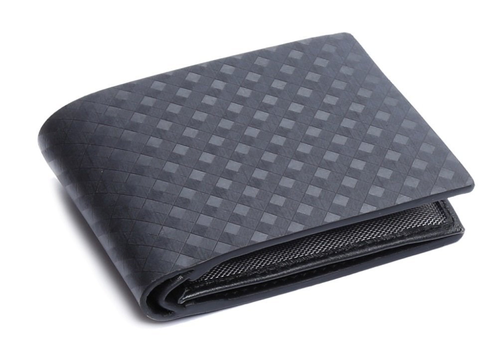 OHM Leather New York Plaid Style Textured Wallet, One Size, Black
