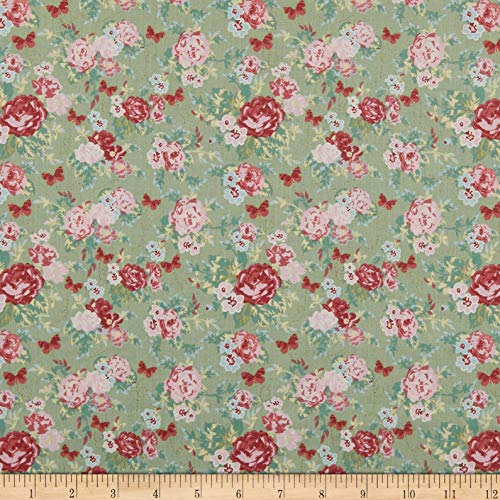 Floral Rose Fabric (Lecien Woodland Rose Floral Bouquets Fabric, Green, Fabric By The Yard)
