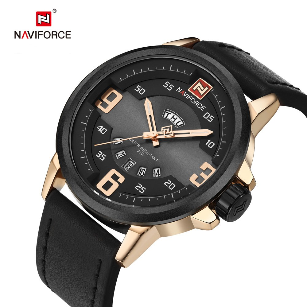 Amazon.com: NX 9086 Mens Watches Top Brand Luxury Sports Watch Men Military Leather Quartz-Watch Waterproof Male Clock Relogio Masculino (Gold Black): ...