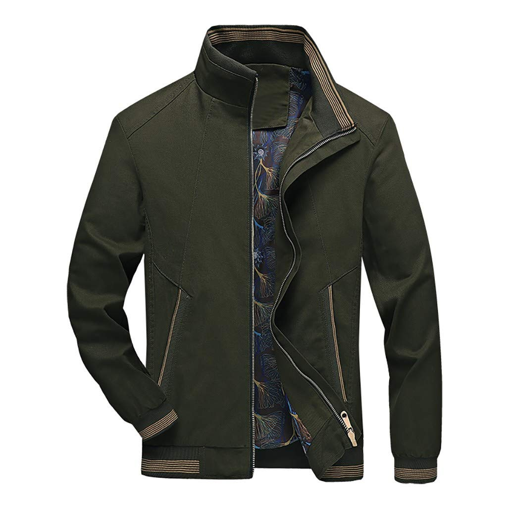 Allywit-Mens Windbreaker Winter Casual Outwear Pure Color Zipper Breathable Jacket Coat Army Green