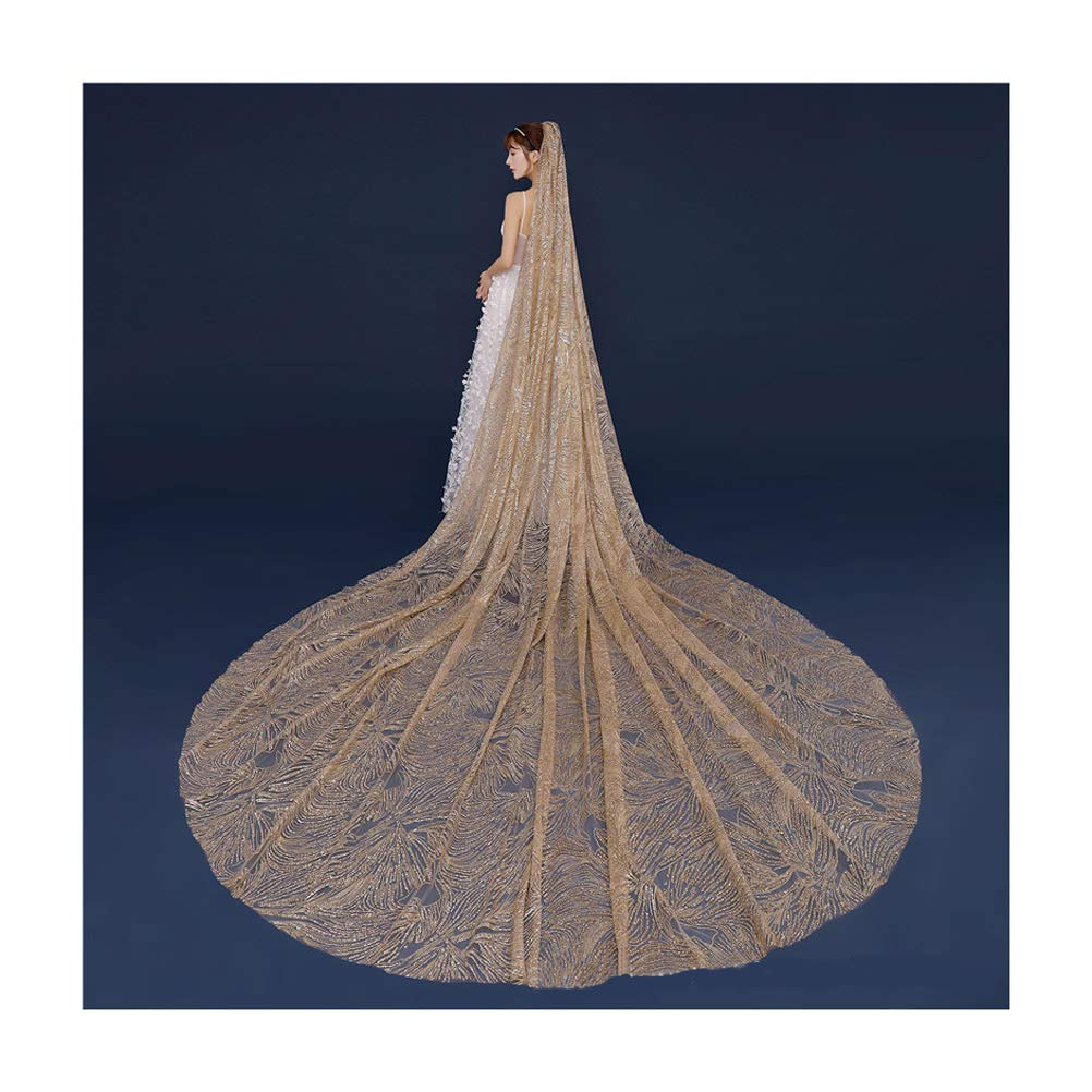 Champagne Fenghuavip Luxury Cathedral Wedding Veil gold Sequins 1 Tier Champagne Veils for Bride with Comb