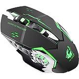 Besline ワイヤレスマウス 静音 ゲーミングマウス 充電式 3DPIモード 省エネ 無線マウス 2.4GHz 光学式 高感度 7色LEDライト アダプタ付属 USB Windows Mac対応 高精度ターゲティング エルゴノミック (ブラック)