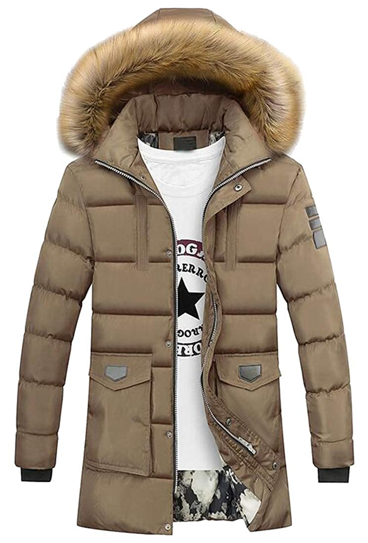Fubotevic Mens Fall Winter Plus Size Longline Faux Fur Hooded Quilted Jacket Coat Outerwear