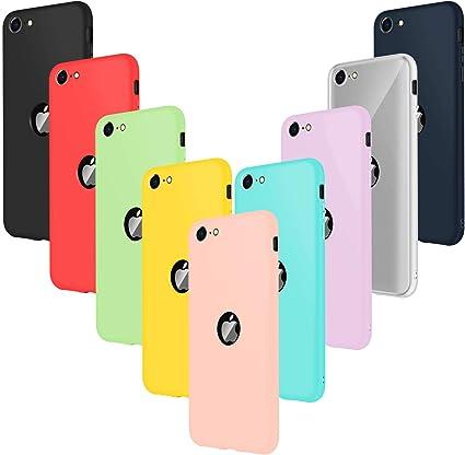Leathlux 9 Cover Compatibile con iPhone SE 2020 4.7 Pollici Silicone Custodia, Sottile Morbido TPU Gel Protettivo Cover, Rosa, Verde,Porpora, Azzurro, ...
