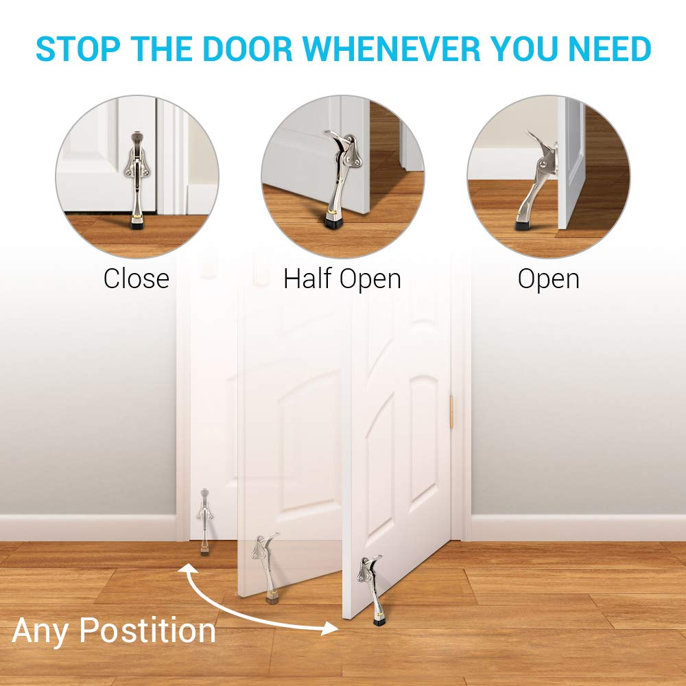 Adjustable Heavy Duty Door Stopper with Rubber Tip and Spring Lever 2 Pack Kickdown Door Stops for Heavy Doors Door Stopper Easy to Set Down and Release,4-Inch,2 Pack for Wide Doors