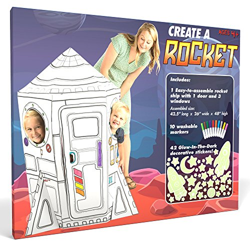 Create a Rocket Playhouse - Includes Markers and Over 40 Glow-in-the-dark Stickers! (Rocket Ship Story Toy)