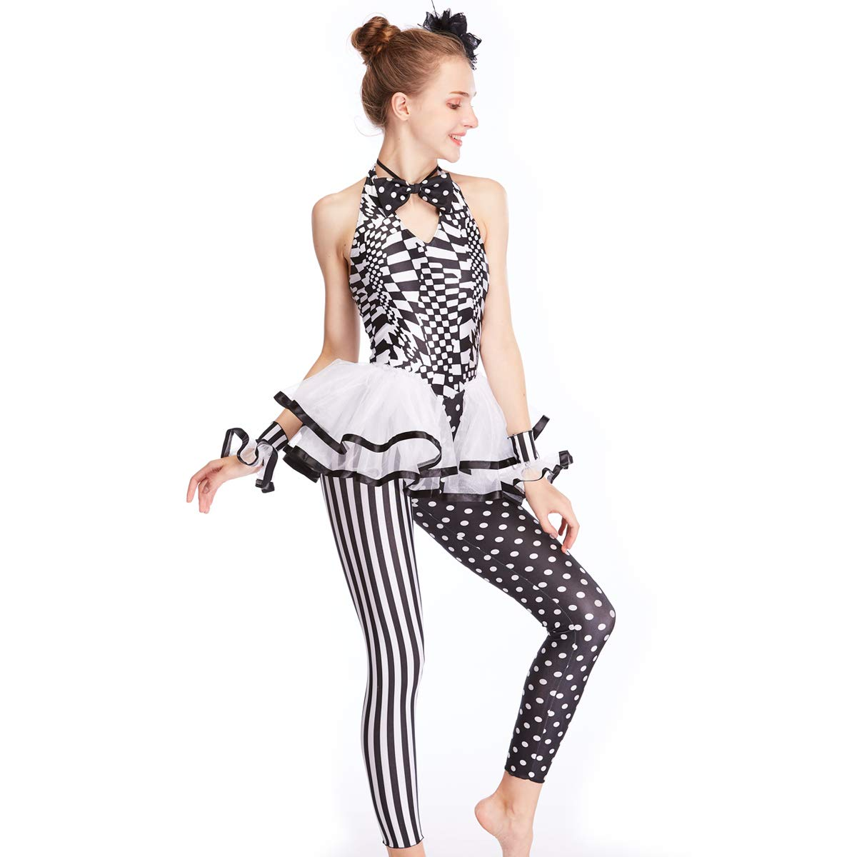 c61a5e5118b5 MiDee Girl's Halter Black-and-White Print Dance Unitard Hip Hot Outfits:  Amazon.co.uk: Clothing