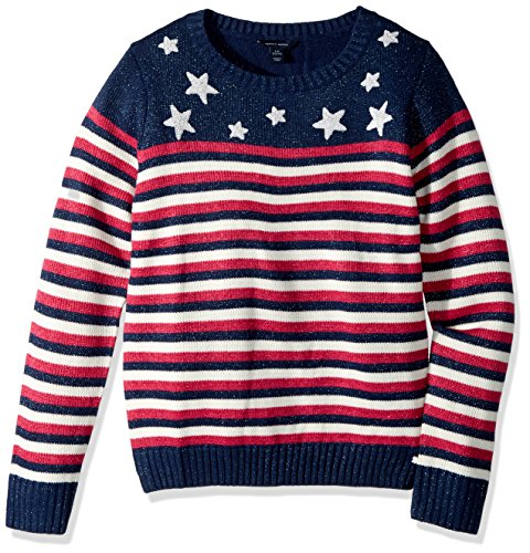 Tommy Hilfiger Girls' Big Pullover Fashion Sweater, Star Blue, Medium
