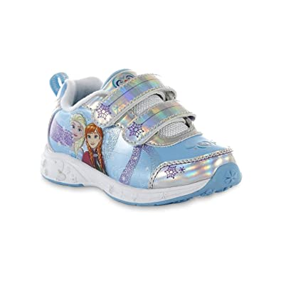 0bf62ba8928d Amazon.com: Disney Baby Toddler Girl Frozen Blue and Silver Sneaker, Size  9: Shoes