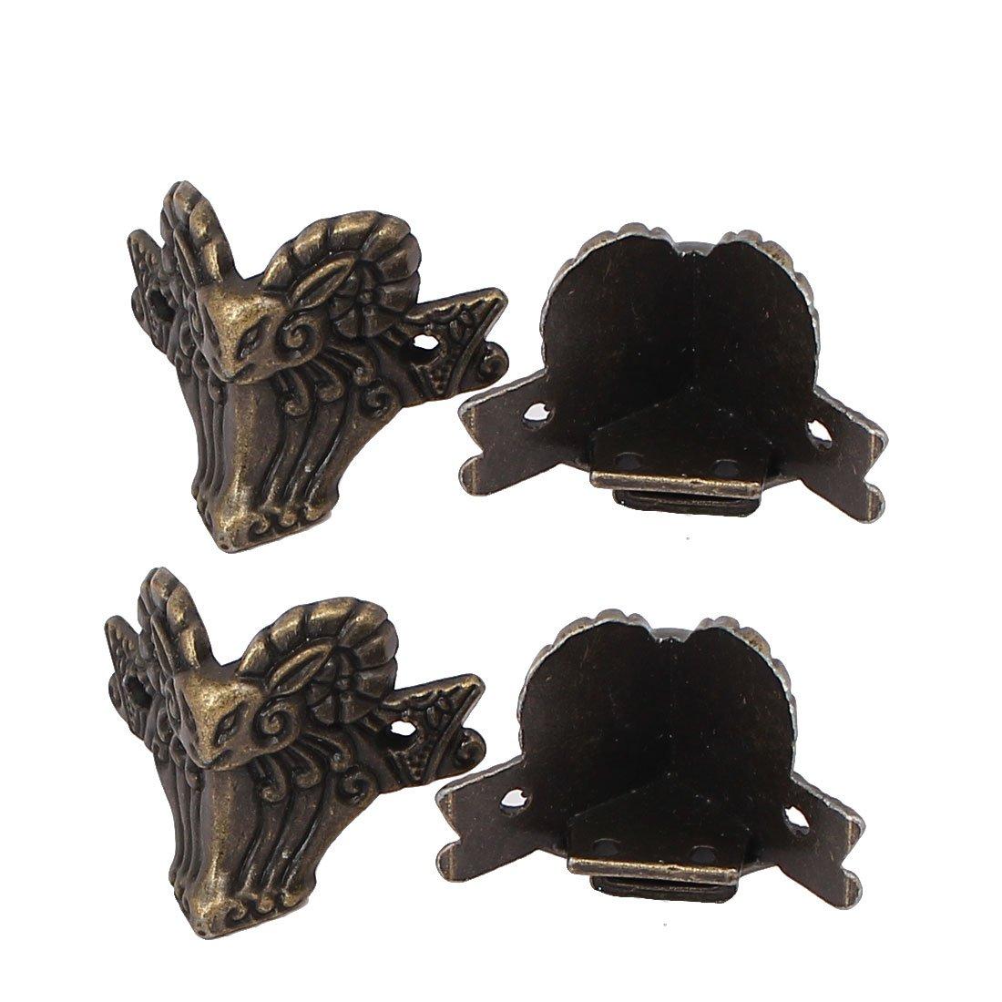uxcellGift Box Jewelry Case Photo Frame Metal Ram Shape Corner Protector Bronze Tone 4pcs a16092600ux0543