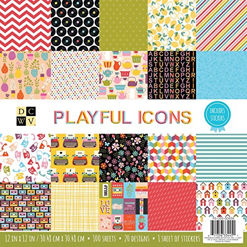 Icon Stack - DCWV 12 x 12 Inch 100 Sheets Playful Icons Paper Pad Stacks