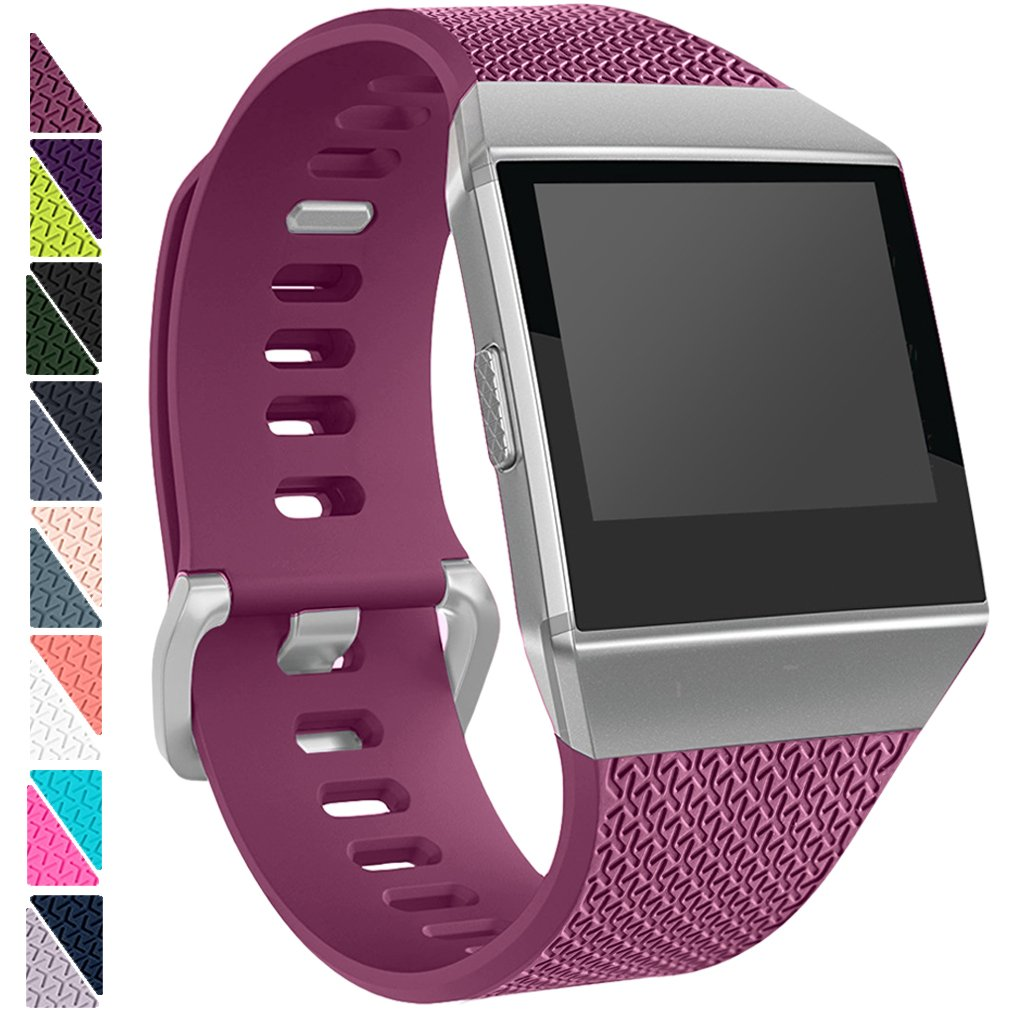 For Fitbit Ionicバンド、Hamile交換用アクセサリークラシックWristbands for Fitbit Ionic、Large Small B0761QNZCH Large|1 pack-fuchsia 1 pack-fuchsia Large