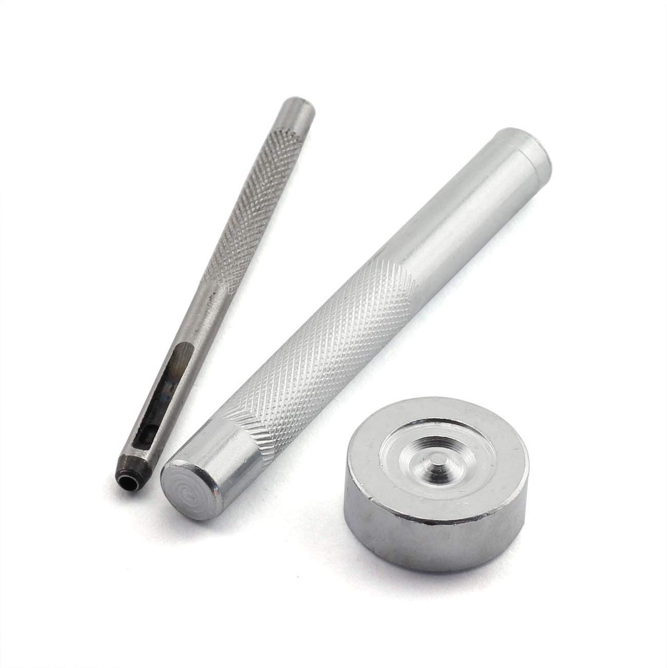 PZRT 100 Sets 6mm Double Cap Rivets with Tools for Leather Craft Repairs DIY Apparel Sewing Fabric Garment Decorations Rivets Silver, Bronze