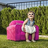 Upholstered Personalized Kids Chair Microfiber Suede (Hot Pink)