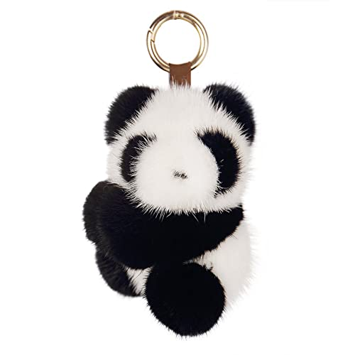 SPRINGWIND Panda Real Mink Fur Pom Keychain Fluffy for Women Bag Car  Decoration 0bddb84809