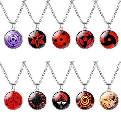 Salemor Naruto Necklace Anime Logo Figure Glass Pendant Necklace Alloy Leather Rope Chain Anime Cosplay Costume Accessories(10Pcs)