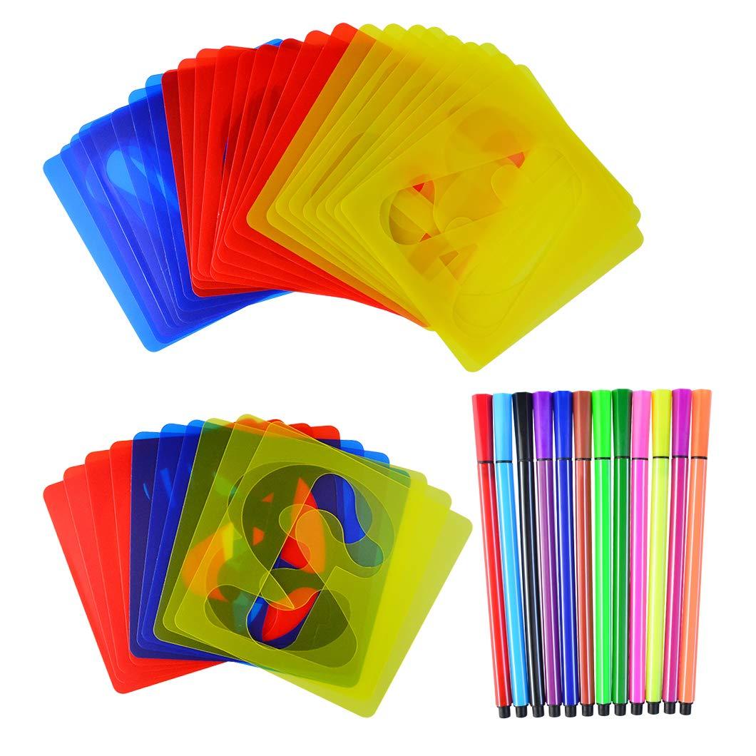 Bantoye 絵画用ステンシルセット 48本 アルファベット&数字ステンシル 12本付き 学習 スクラップブック アートプロジェクト 3色 B07H2VX7S5