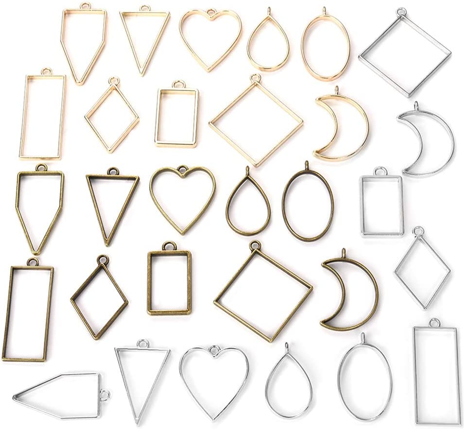Open Bezel Charms for Jewelry Making and DIY Crafts - 30 Pcs
