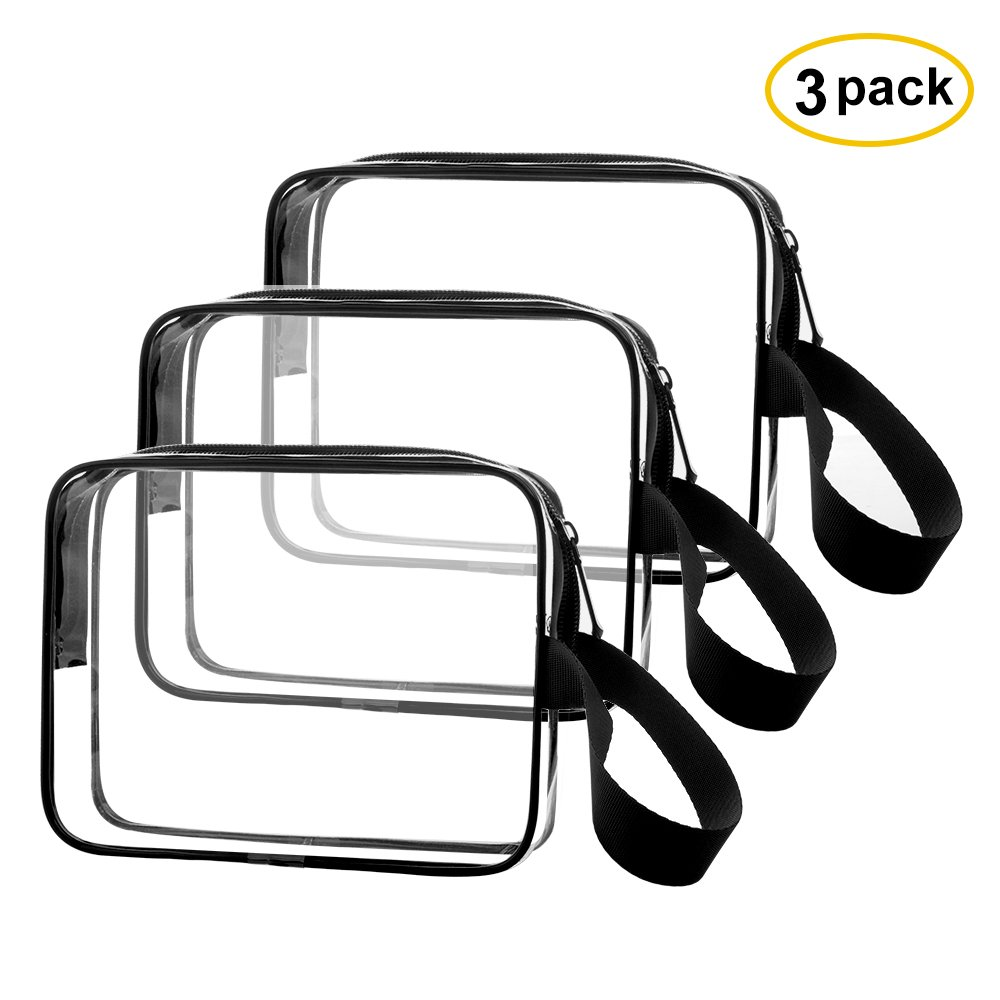 3pcs/pack Sariok Clear Toiletry Bag with Zipper TSA Approved Travel Cosmetic Bag PVC Make-up Pouch Handle Straps for Women Men, Carry On Airport Airline Compliant Quart Bags 3-1-1 Kit Luggage (Black)