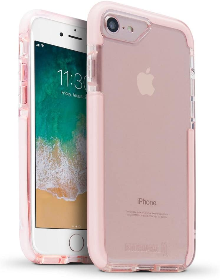 BodyGuardz - Ace Pro Case for Apple iPhone SE 2nd Gen, 7 and 8 (Not Plus), Extreme Impact and Scratch Protection (Pink/White)