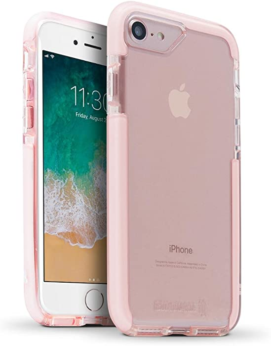 BodyGuardz - Ace Pro Case for Apple iPhone 7 Plus and iPhone 8 Plus, Extreme Impact and Scratch Protection (Pink/White)