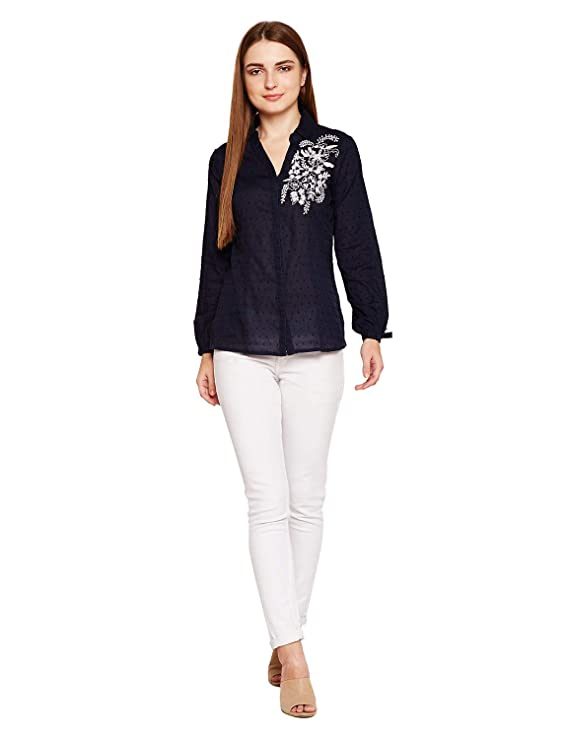 oxolloxo Women's Cotton Full Sleeves Embroidered Shirt (Navy