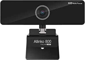 Allinko 800 Auto Focus Webcam 1080P with Noise Cancelling Mic, Web Camera Wide Screen Video Calling Recording Streaming, Skype Web Cam for Mac OS X Win 10 8 7, Ideal for Working at Home
