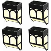 WUHUHAI Solar Wall Lights Outdoor, 2 Modes Solar Led Waterproof Lighting for Deck, Fence, Patio, Front Door, Stair, Landscape, Yard and Driveway Path,Warm White/Color Changing,Pack of 4
