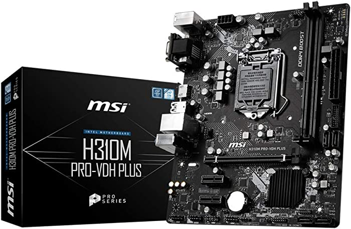 MSI ProSeries Intel Coffee Lake H310 LGA 1151 DDR4 D-Sub DVI HDMI Onboard Graphics Micro ATX Motherboard (H310M PRO-VDH Plus)