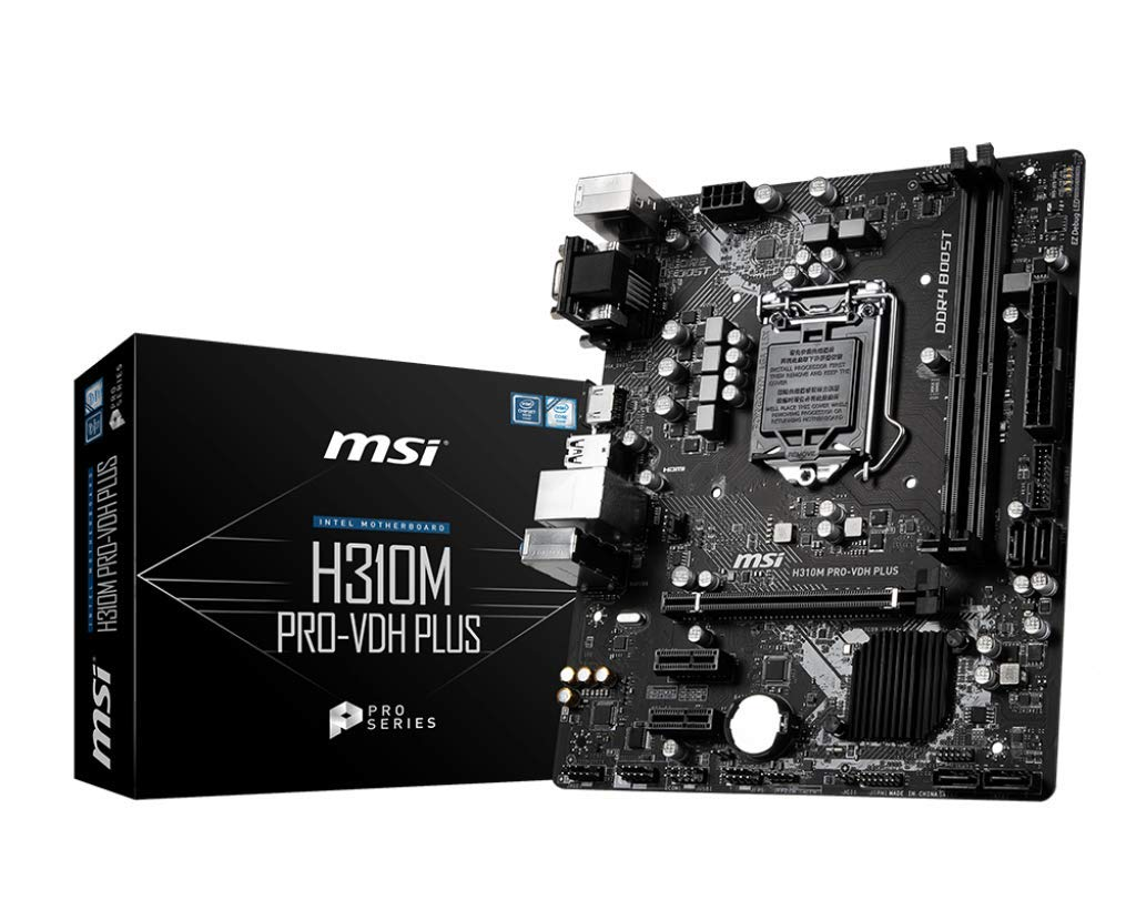 MSI ProSeries Intel Coffee Lake H310 LGA 1151 DDR4 D-Sub DVI HDMI Onboard Graphics Micro ATX Motherboard (H310M PRO-VDH Plus) by MSI