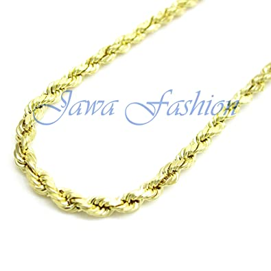 dbbd210a4399 Jawa Jewelers 10K Yellow Solid Gold Men Women s 3MM Diamond Cut Rope Chain  Lobster Clasp