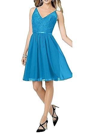 Charmant Damen Spaghetti-traeger Cocktailkleider Spitze Chiffon  Abendkleider Ballkleider Partykleider Mini Kurz Kleid: Amazon.de: Bekleidung