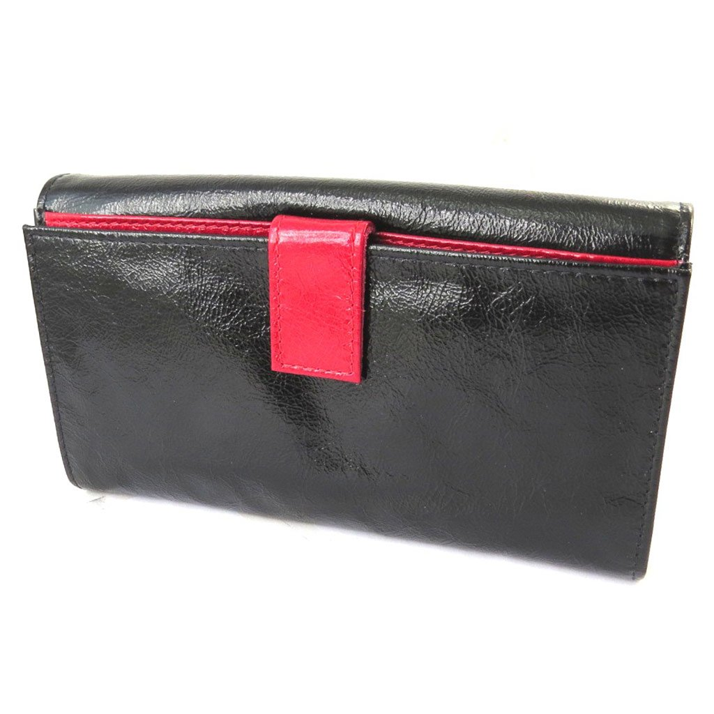 Wallet + checkbook holder leather 'Frandi' black red varnish.