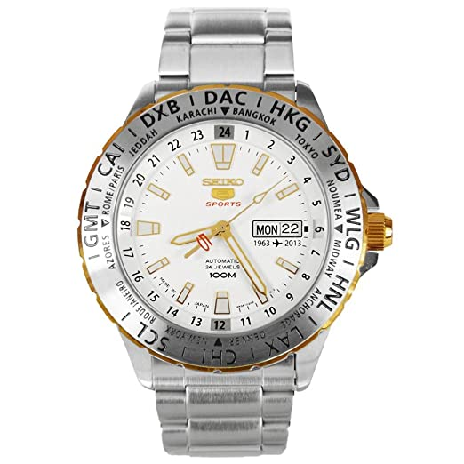 Edición especial 50th aniversario Seiko 5 Deportes Automático Acero inoxidable Acero Caso y Pulsera Blanco Tono Dial día y fecha: Amazon.es: Relojes