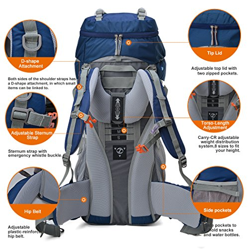 Mountaintop 65L Internal Frame Backpack Water-resistant Hiking ...