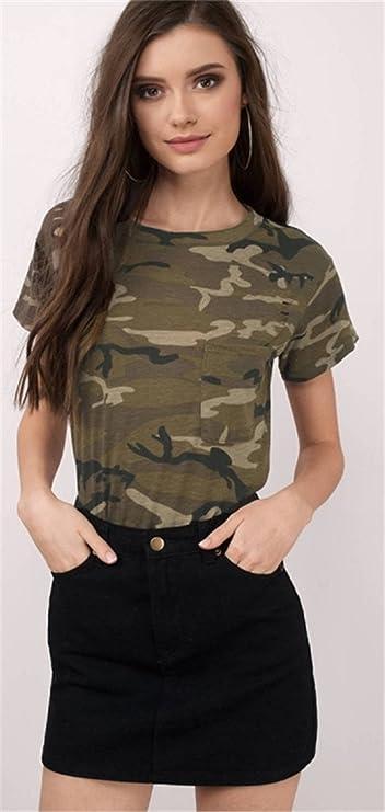 Armee Militär Camo Tarnung Gedruckt Tasche Taschen Vorne Kurzarm T-Shirt Tee  Oberteil Top Grün 2XL  Amazon.de  Bekleidung 021801db6c