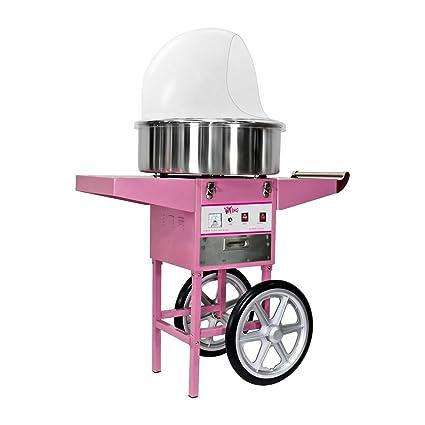 Royal Catering Máquina de Algodón de Azúcar con Carrito, Control Termostato y Rotación, 1200W