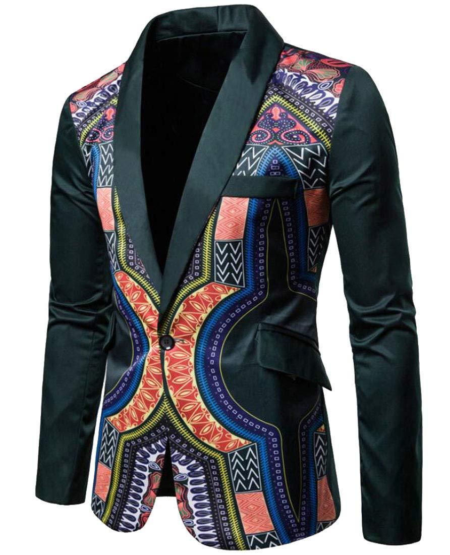 Domple Men's Fashion One Button Lapel African Print Dashiki Blazer Suit Jackets Green 2XL