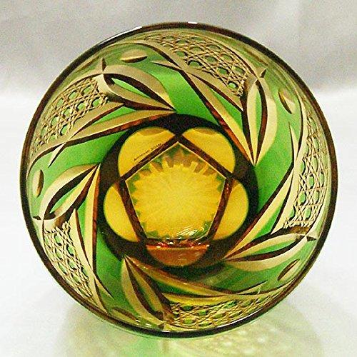 Saika Kiriko Glass Tumbler Round GREEN by SAKE-TALK (Image #3)