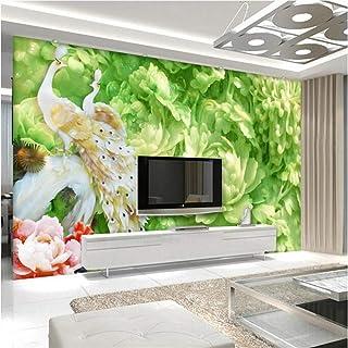 BIZHIGE Peacock Wallpaper Custom Jade Carving Peonia 3D Photo Carta da Parati Ambiente Friendly TV Sfondo Soggiorno Cucina Camera da Letto-140 × 70 Cm