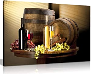 Wine with Grape for Kitchen Food Canvas Wall Art Picture Print (12x8)