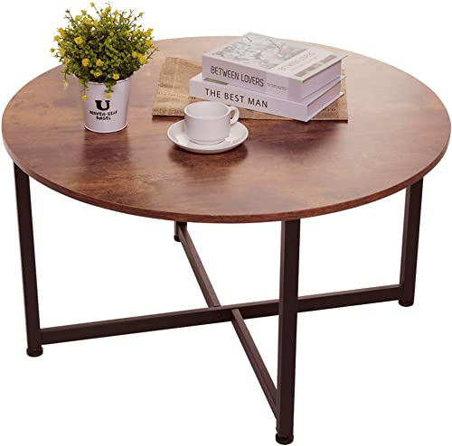 USIKEY Round Coffee Table for Living Room, Retro Cocktail Table with X Base9 Metal Frame, Sofa Table, Office Table, Entertainment Center for Gaming, in Home Office, Rustic Brown