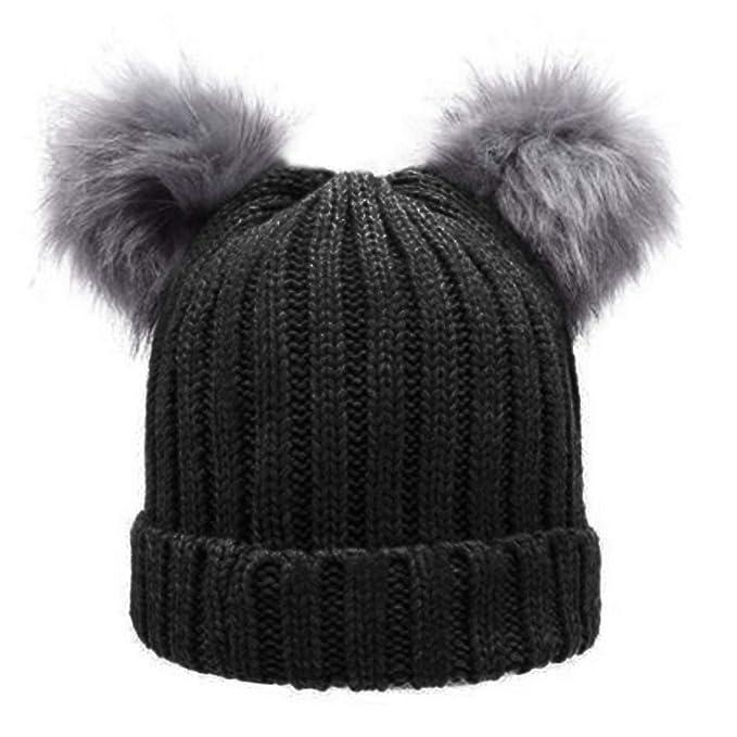4eebd7cef Zesoma Women's Winter Chunky Knit Double Pom Pom Beanie Faux Fur Hat ...