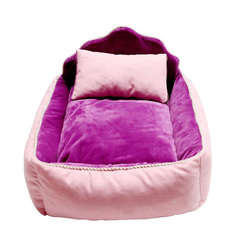 Purple S-(584016)cm Purple S-(584016)cm Pet Bed Dog Cat Nest Pet Waterloo Small and Medium Sofa Mattress Pet Supplies (color   Purple, Size   S-(58  40  16) cm)